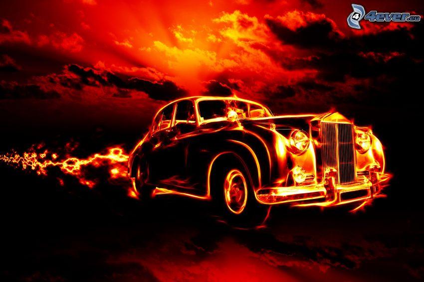 veicolo d'epoca, fuoco, cielo arancione