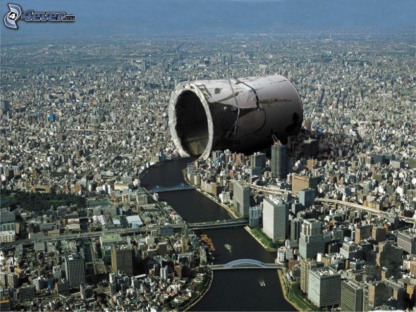 vista della città, cilindro