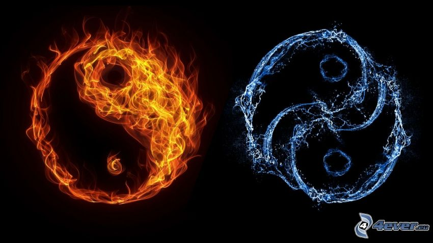 yin yang, fuoco e acqua
