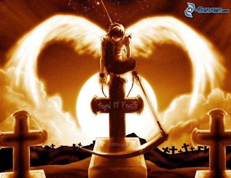 angelo della morte, angel of death, tomba, falce, cimitero, luna piena, ali, manga