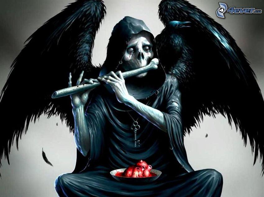 angelo della morte, morte, la morte, cranio, ali nere