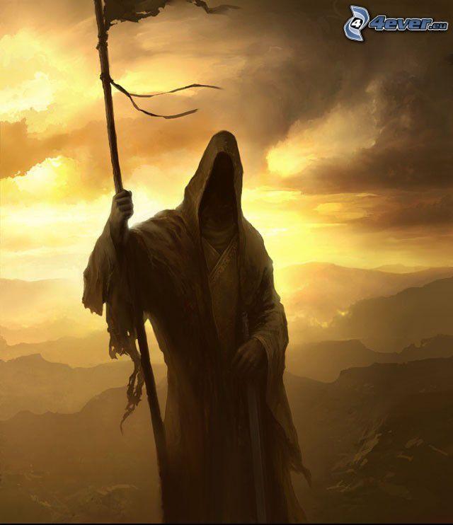 angelo della morte, paesaggio infernale, figura spettrale