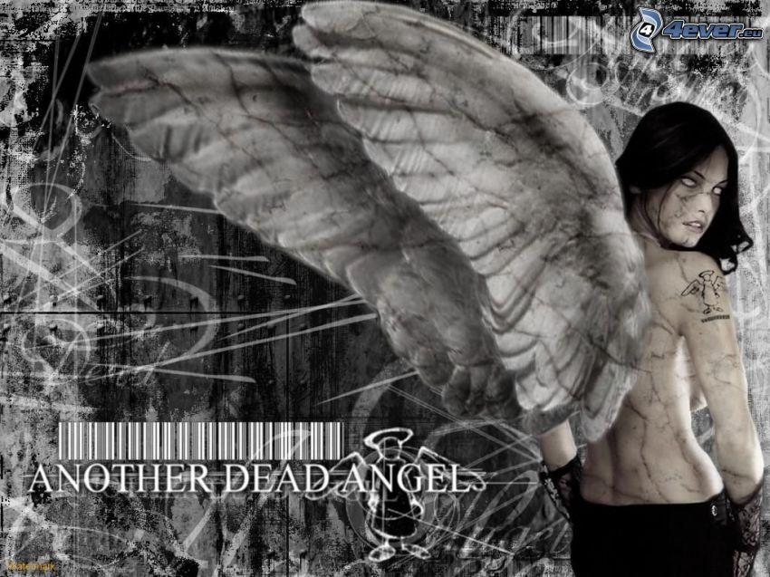 angelo nero, donna con le ali, codice a barre