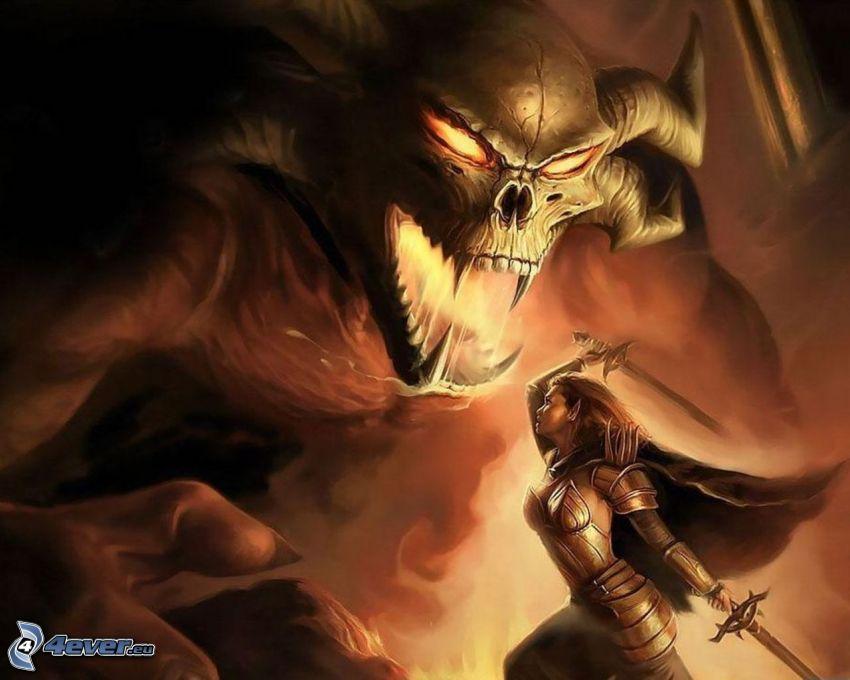 battaglia, demone, guerriera, spade, armatura