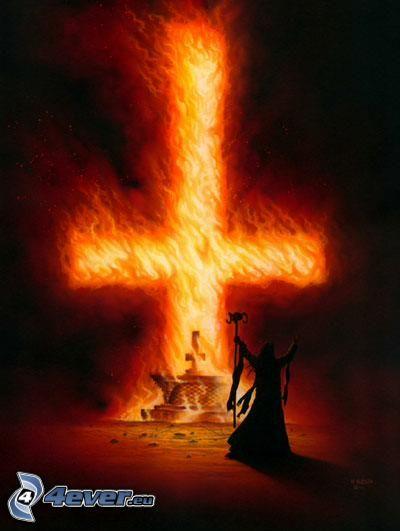 croce, fuoco, fiamme, diavolo