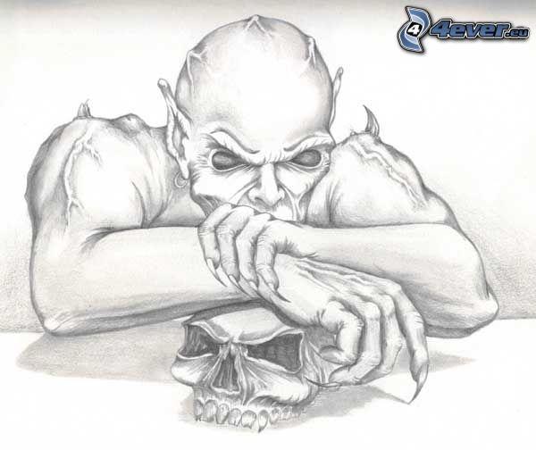 demone disegnato, cranio
