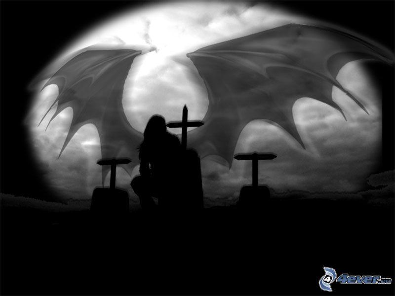 diavolo, cimitero, luna, ali