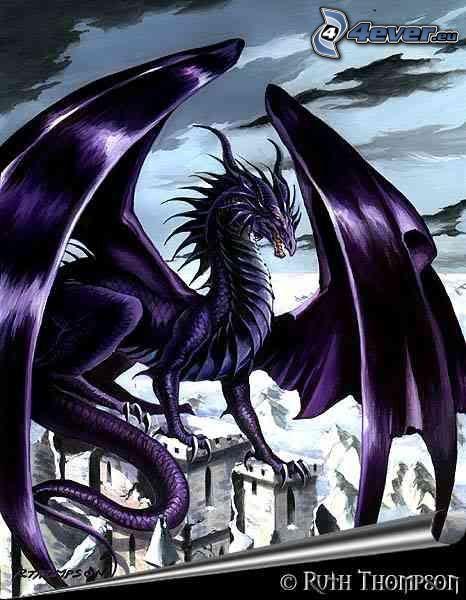 dragone nero, ali nere, coda