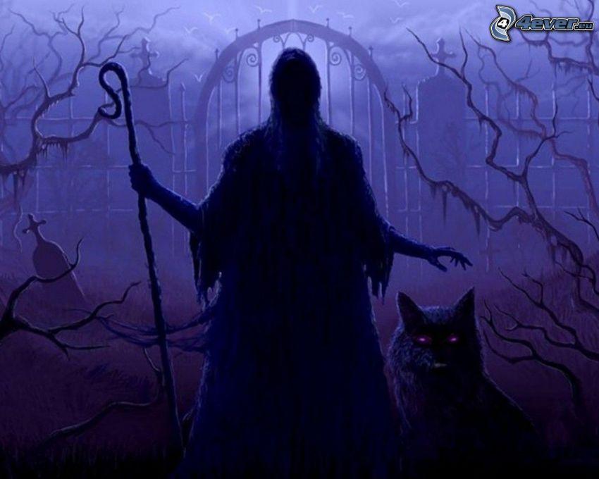 figura spettrale, mago, lupo nero, tomba, morte, demone