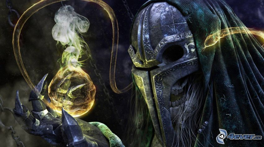 guerriero scuro, serpente, cranio, magia, alchimia