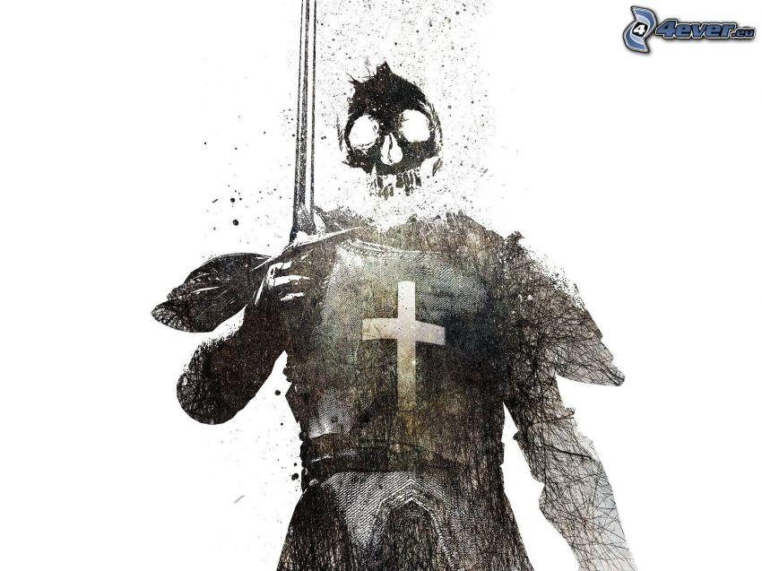 guerriero scuro, spada, crociato, cranio