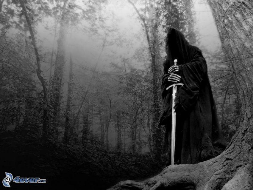 la morte, bosco scuro, spada, Mostro, demone, figura spettrale