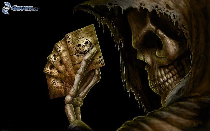 scheletro, poker, carte, asso