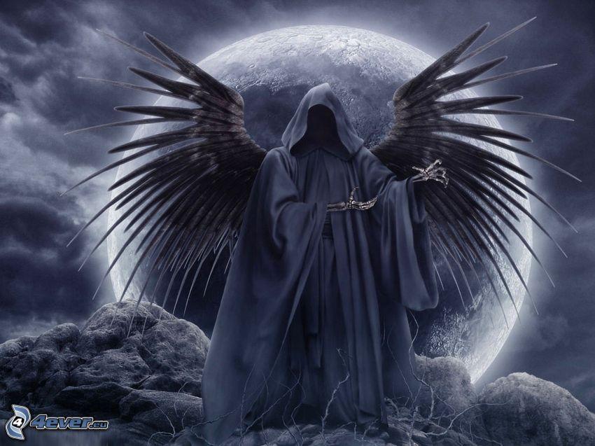 scuro uomo con la falce, ali nere, luna, morte