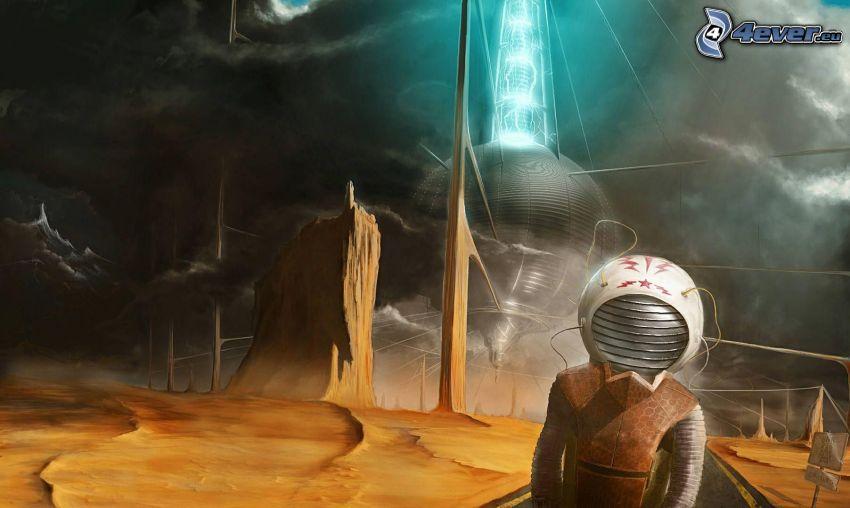 astronauta, paesaggio fantasy