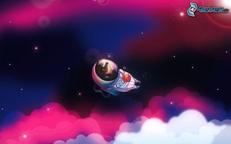 astronauta, riccio