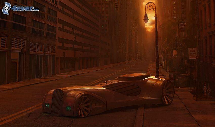 auto disegnata, strada, lampione