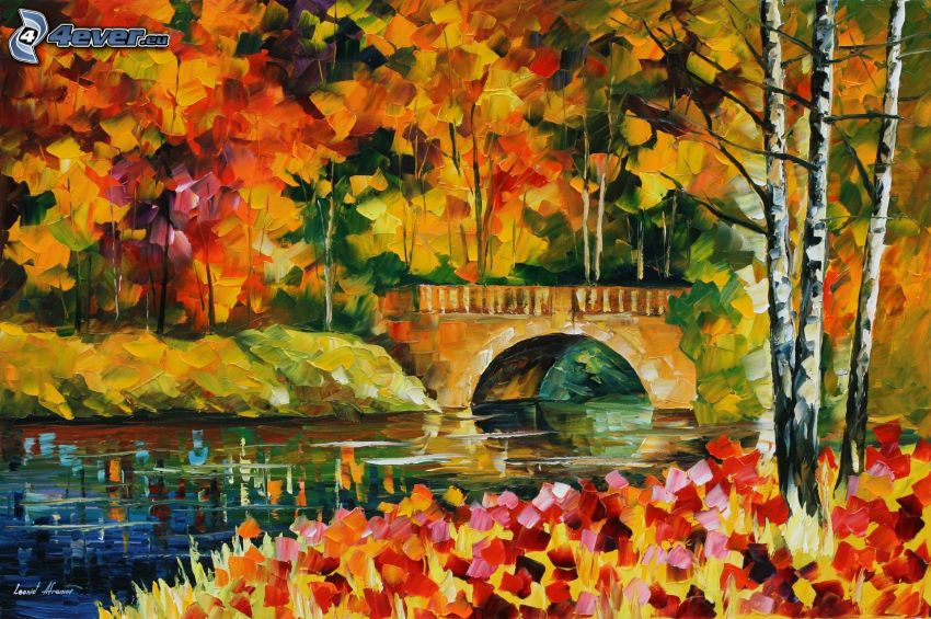 autunno, il fiume, ponte di pietra, alberi, foglie, pittura