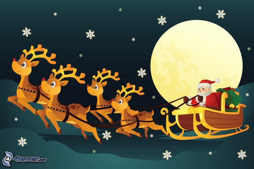 Babbo Natale, slitta, renne, luna, fiocchi di neve