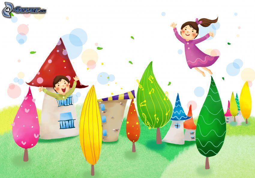bambini disegnati, alberi, case
