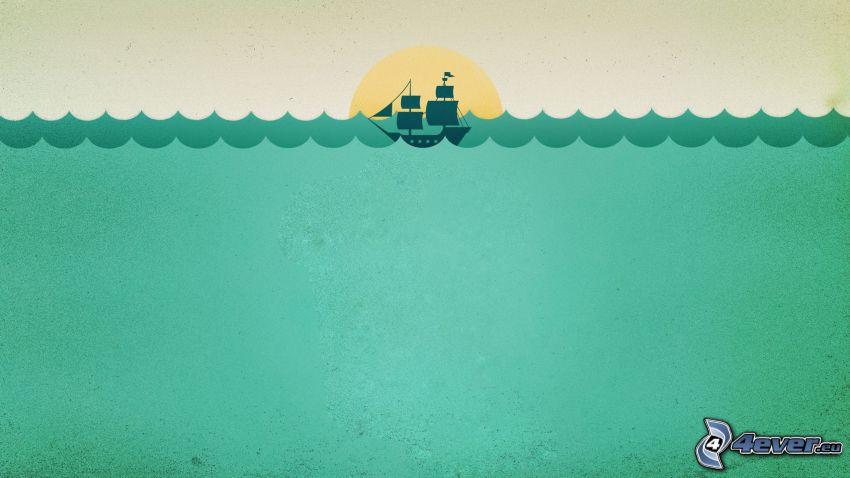 barca a vela, mare, sole