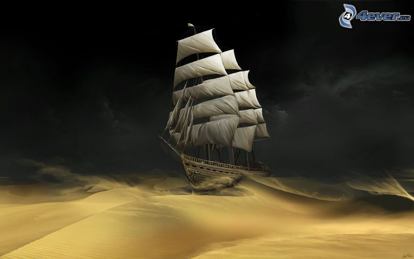 barca a vela, mare burrascoso, deserto