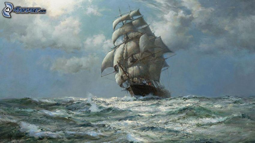 barca a vela, mare burrascoso, pittura