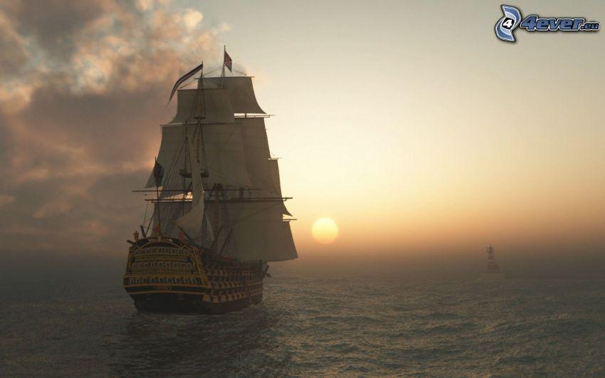 barca a vela, Tramonto sul mare
