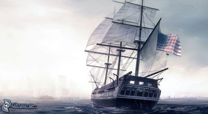 barca a vela disegnata, la bandiera degli Stati Uniti