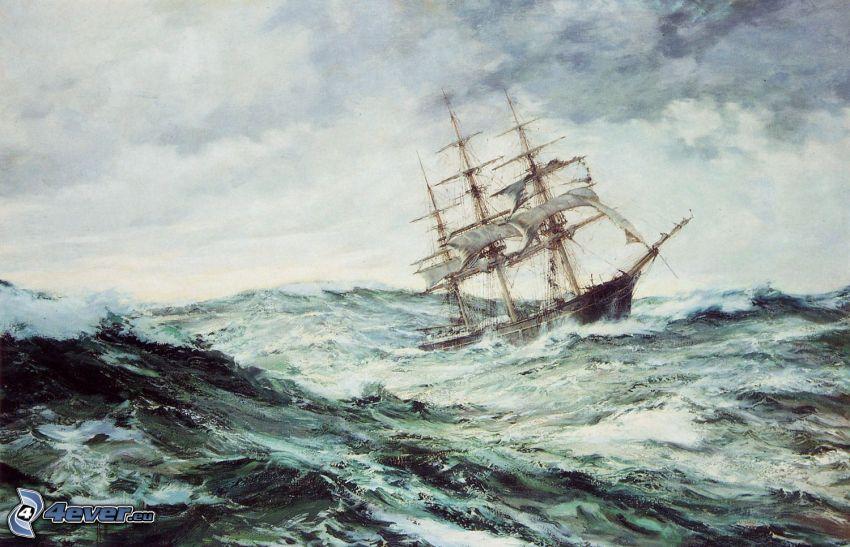 barca a vela disegnata, mare burrascoso
