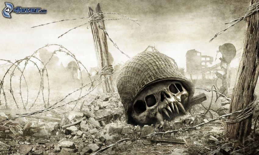 cadavere, casco, cranio, bianco e nero