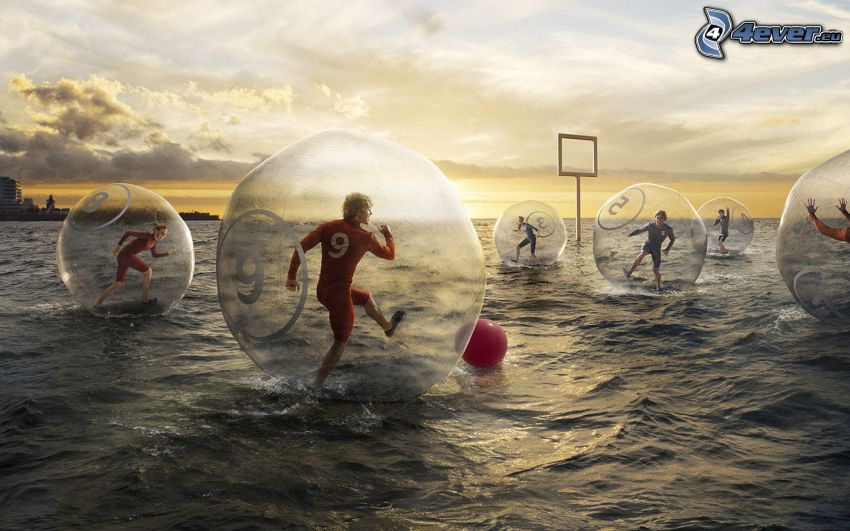 calcio, acqua, palline