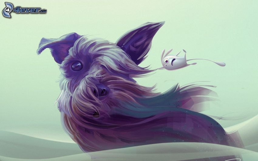 cane disegnato, pulce, vento