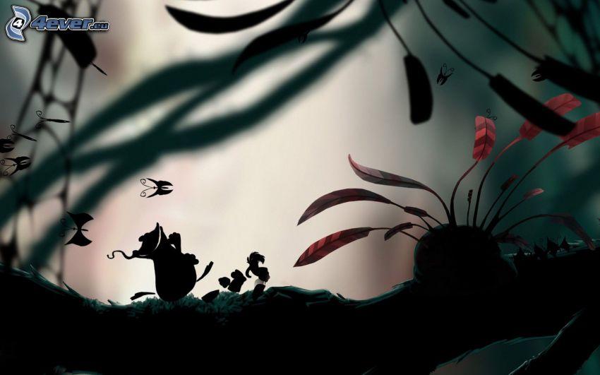 carattere, farfalle, foglie