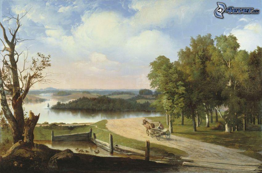 carrozza, strada, alberi, lago