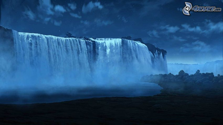 cascata, notte