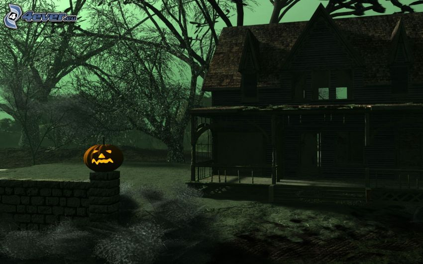 chalet, jack-o'-lantern, Zucca di Halloween
