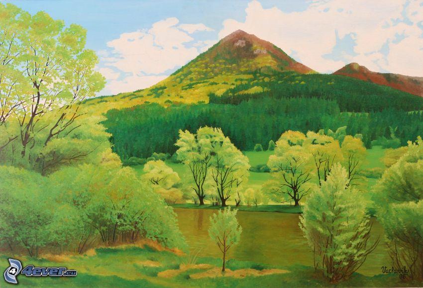 Choč, Slovacchia, disegno degli alberi, il fiume, pittura