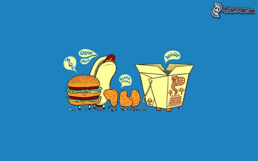 cibo, hamburger, hot dog