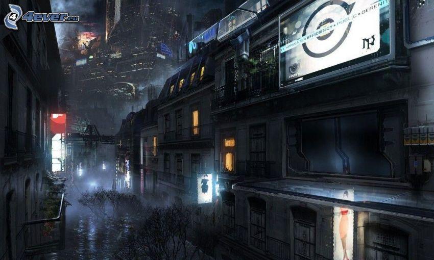 Città di cartone animato, case, notte