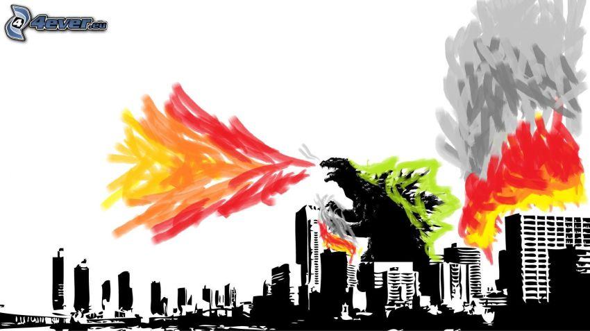 Città di cartone animato, grattacieli, mostro, fuoco