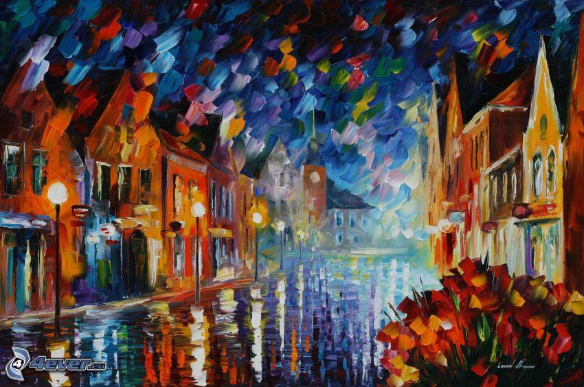 Città di cartone animato, strada, pittura a olio