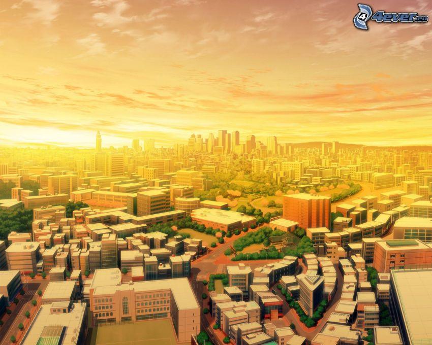 Città di cartone animato, vista della città