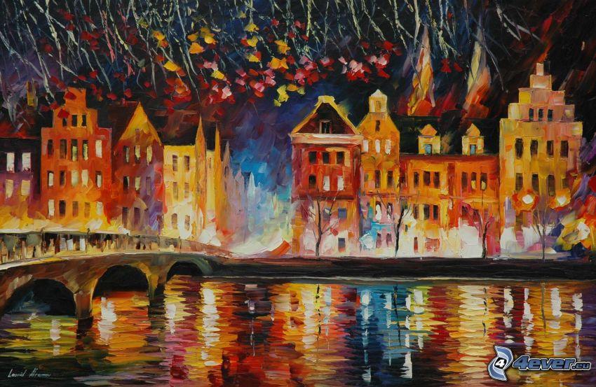 città notturno, il fiume, pittura a olio