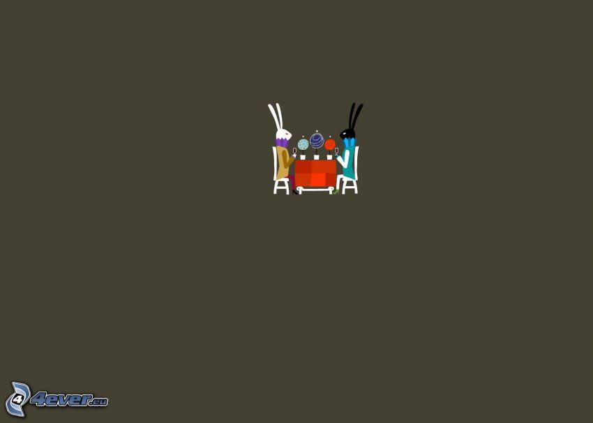 coniglietti disegnati, tavolo, sedie, cartone animato