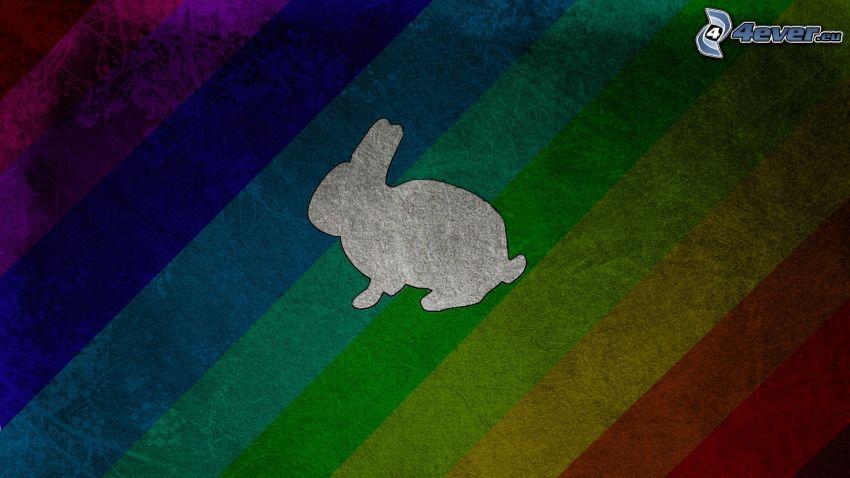 coniglio del cartone animato, strisce colorate