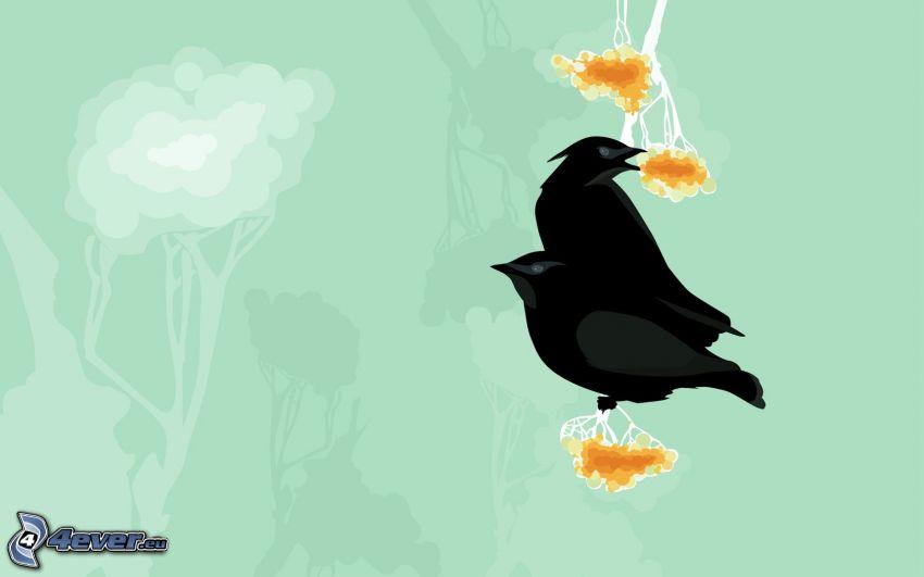 corvi, siluette di alberi