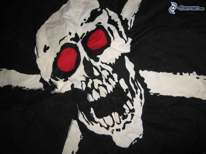 cranio, gli occhi rossi