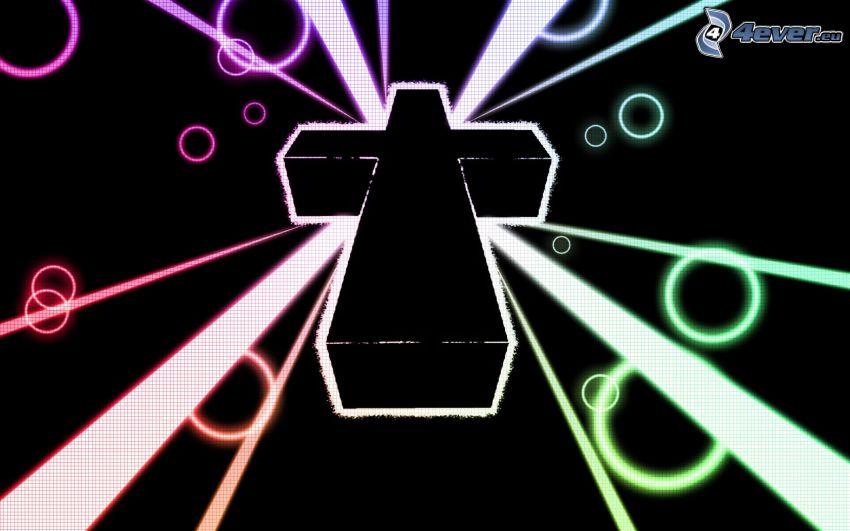 croce, cerchi, strisce colorate