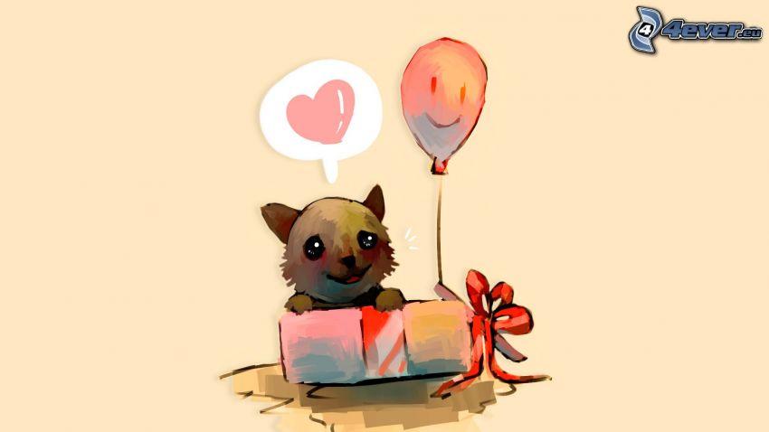 cucciolo, scatola, palloncino, cuore